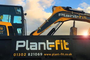 Plant Fit Ltd branding applied to the excavators